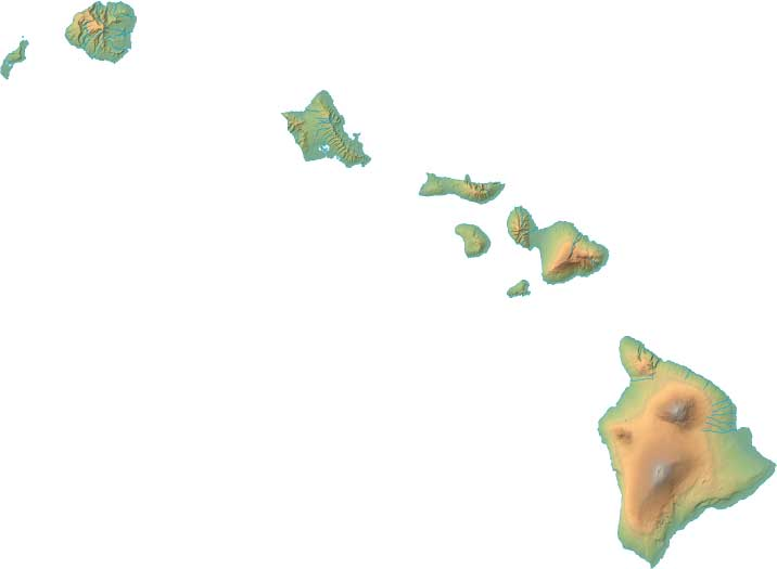 Hawaii relief map